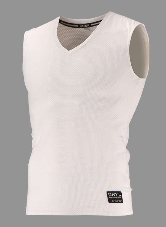CRATER MESH V NECK NO SLEEVE